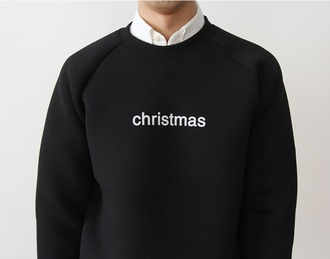 sweater black neoprene sweatshirt christmas sweater christmas minimalist white menswear winter sweater winter outfits