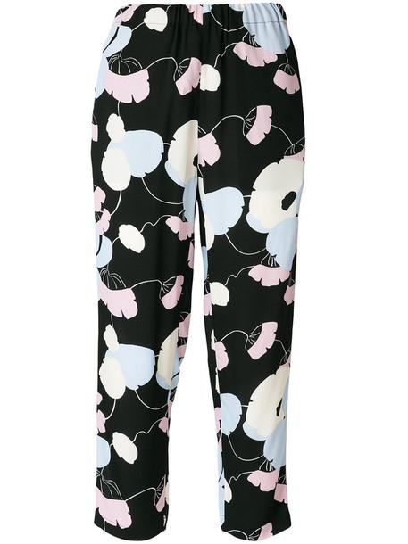 MARNI cropped women print black pants