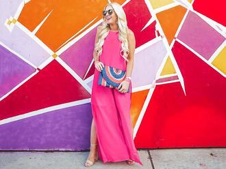cortinsession blogger dress bag jewels shoes sunglasses pink dress maxi dress sandals clutch summer dress