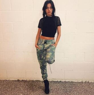 top mesh mesh top camila cabello camouflage camo pants fifth harmony instagram crop tops pants