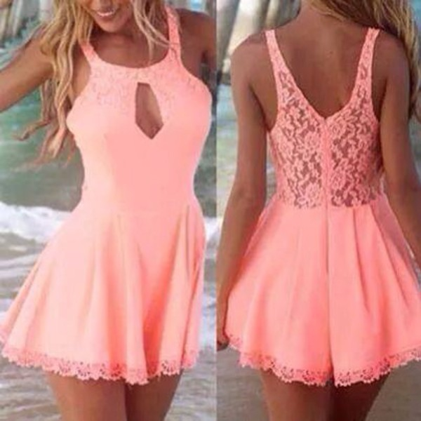 crochet crop dress lace dress laced mini dress outfit classy prom dress party dresess prom dressess peachy pink cut-out girly