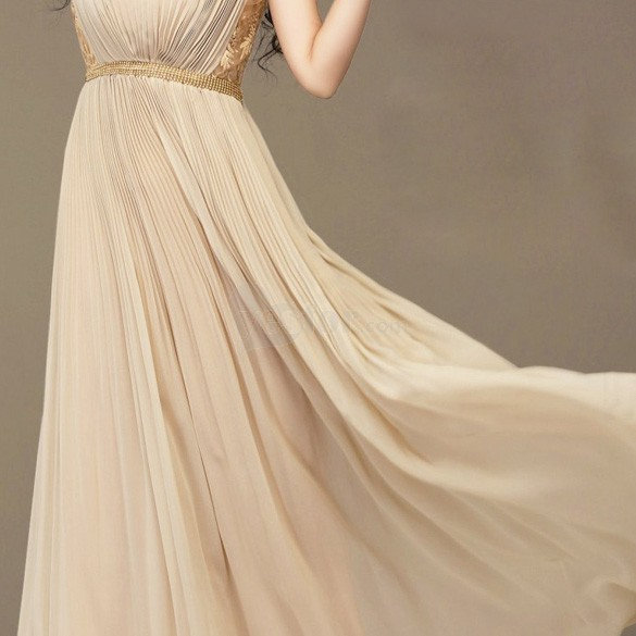 Summer Korean Sweet Princess Lace Slim Chiffon Long Maxi Dress Nude M, unit price of $19.10 only - Yesfor.com