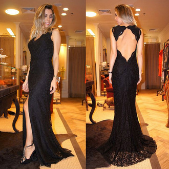 slit dress gorgeous trendy gown prom vanessawu dress fashion open back elegant beautiful