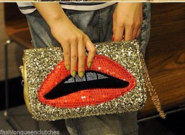 bag, lips, sequins, handbag, clutch, women