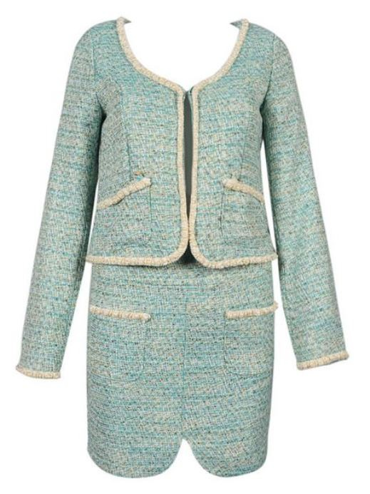 Green Tweed Short Coat with Slit Skirt