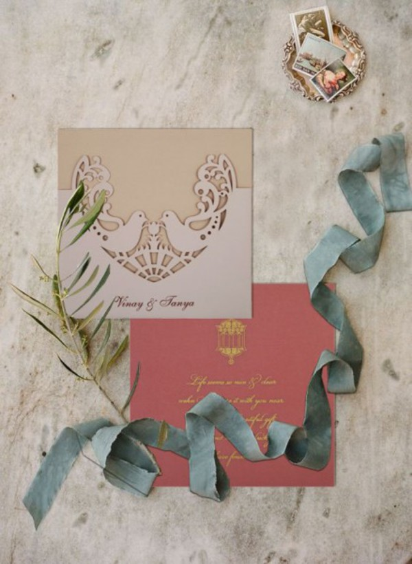 home accessory wedding invitations cards stationary pink green ivory wedding planning foil