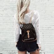 bag,backpack,louis vuitton,louis vuitton bag,lace top,white top,long sleeves,tumblr,shorts,denim shorts,distressed denim shorts,black shorts,designer backpack,mini backpack,louis vuitton backpack