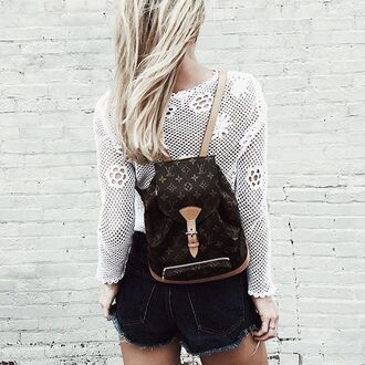 bag backpack louis vuitton louis vuitton bag lace top white top long sleeves tumblr shorts denim shorts distressed denim shorts black shorts designer backpack mini backpack louis vuitton backpack