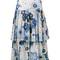 Chloé - tiered floral print skirt - women - silk/cotton - 38, blue, silk/cotton