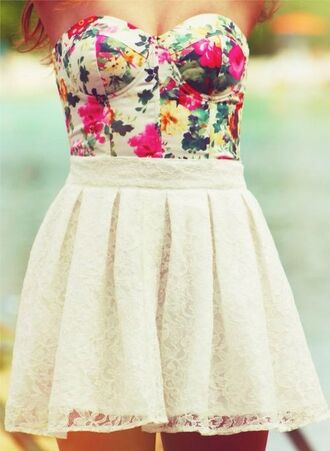 dress shirt floral dress skirt lace floral skater skirt top flowers belly shirt strapless strapless shirt roses high waisted whole outfit.. pink bow shoes shoes half floral pink yellow green beautiful lace dress short dress