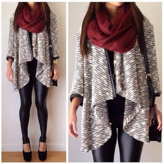 sweater clothes jeans fashion fall outfits winter outfits girly fall outfits jacket coat scarf red