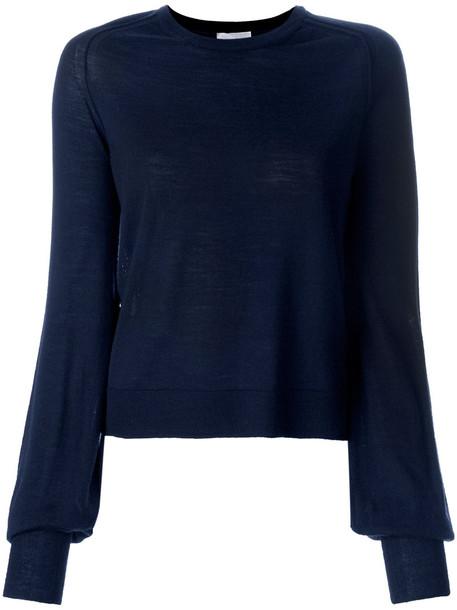 Forte Forte - crew neck jumper - women - Wool - 1, Blue, Wool
