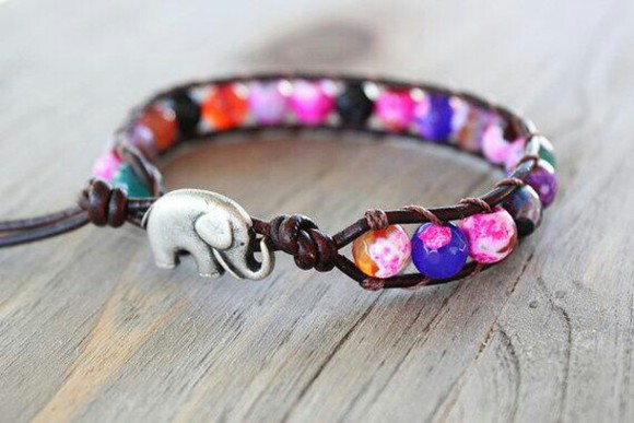 elephant jewels leather bralette colorful bracelet