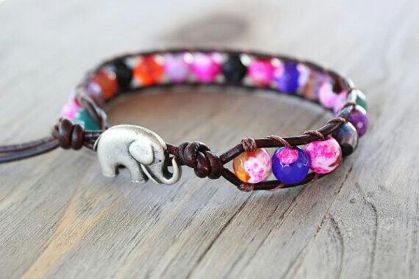 jewels leather bralette elephant colorful bracelet boho bracelets elephant bracelet beeds indie bracelets vibrant style beaded woven orange aqua anklet hippie rainbow
