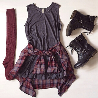 grey combat boots socks plaid burgundy fall outfits top shoes knee high socks checked shirt cool plaid shirt grunge boots tumblr outfit checkered punk rock vintage black black and white grey dress plaid flannel shirt dress