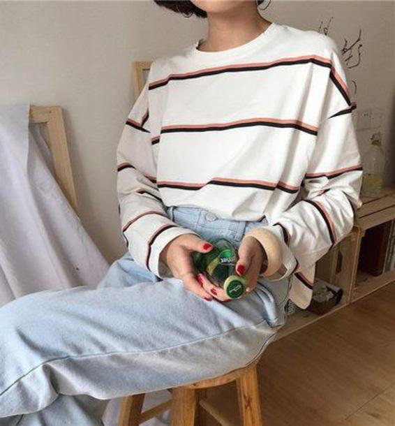 58fbb847ccd0e blouse girly white long sleeves stripes striped top sweater sweatshirt  tumblr