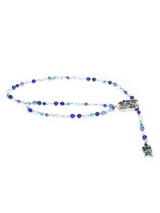 women pearl belt blue