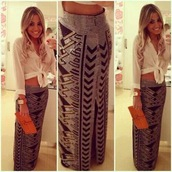 skirt,maxi,maxi skirt,silver,black,shiny,triangles,pattern,diamontes,weed shirt,shirt,hipster,aztec skirt,hippie