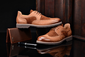 shoes fuguiniao for men brogue cut-out brogues oxfords dress shoes