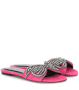 embellished sandals suede pink shoes