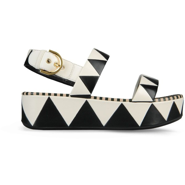 Sergio Rossi Zagazig Zigzag Pattern Leather Wedge Sandal In... - Polyvore