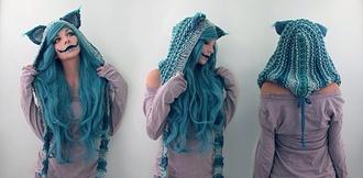 hat blue blue hat blue knit cheshire cat cheshire cat hat halloween