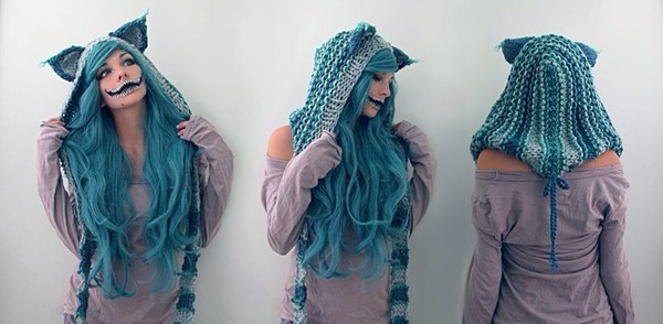 hat blue blue hat blue knit cheshire cat cheshire cat hat halloween