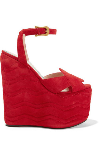 quilted sandals wedge sandals suede red shoes