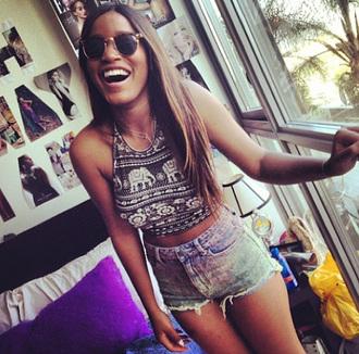 shorts crop tops top denim style keke palmer glasses smile laugh beauty african american kekepalmer keke plamer celebrity style