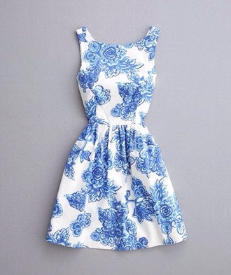 dress floral dress blue white
