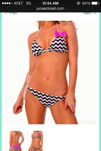 swimwear black and white chevron pink bow bikini triangle top string bikini