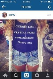 shirt,crystal skies,stolen kisses,pretty lies,blank space,taylor swift tshirt,cherry lips,graphic tee,black t-shirt