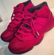 red sneakers,red shoes,sneakers,high top sneakers,air jordan 11,air jordan,shoes,dope,jordan's,black,black jordans,all black everything,jordans,jordan,black sneakers,snake skin
