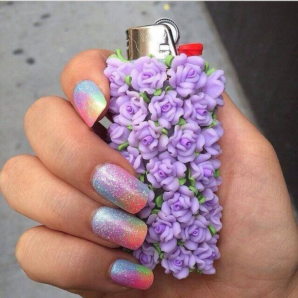 lighter phone case cover top purple floral lighter nail polish