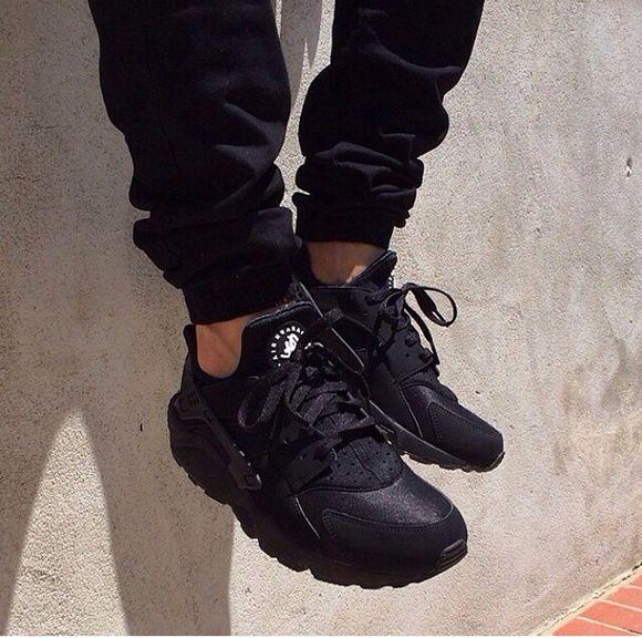 shoes black mens shoes triple black limited edition nike huarache nike sneakers black shoes tumblr shoes