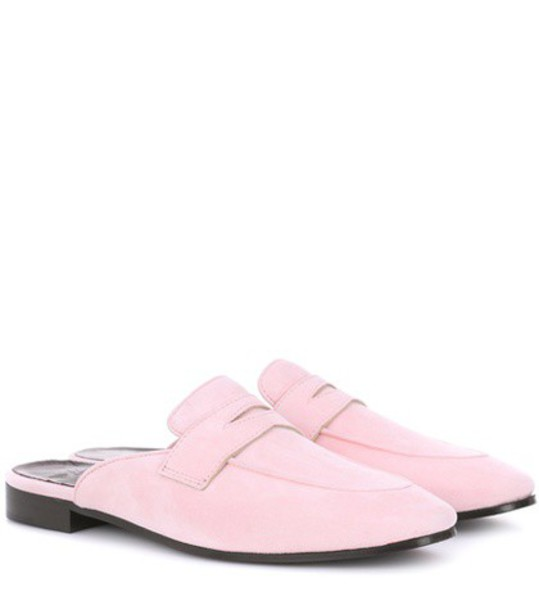 mules suede pink shoes