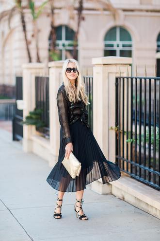 modern ensemble blogger blouse skirt shoes bag pleated skirt high heel sandals sandals clutch midi skirt