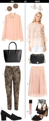 dailystylefinds,blogger,jewels,blouse,bag,pants,jacket,shoes,top,skirt,pink blouse,pink top,pumps,black bag,pink skirt