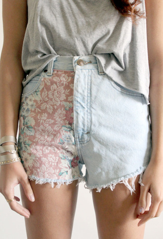 shorts denim vintage jeans half and half pink blue floral high waisted high waisted shorts