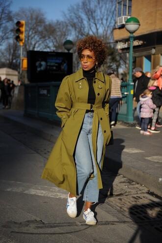 coat trench coat green coat denim jeans blue jeans top black top streetstyle sunglasses