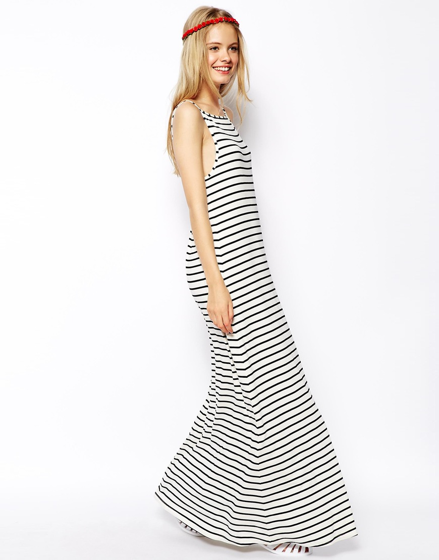 ASOS Maxi Dress In Stripe With Scoop Back at asos.com