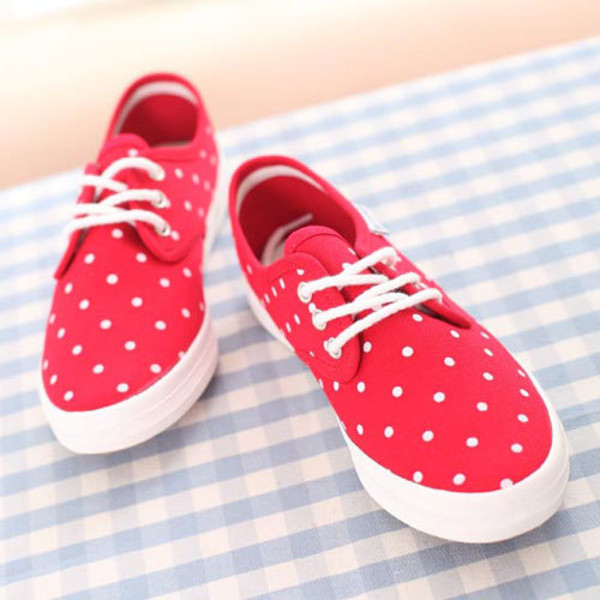 shoes sneakers polka dots red white sneakers cute