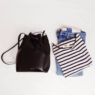 bag bucket bag blouse stripes black and white jeans pretty #bags black pullover fall outfits blue jeans black bag black backpack striped top hipster