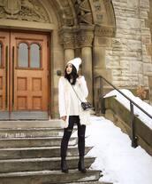 jacket,tumblr,vest,fur vest,white fur vest,sweater,white sweater,beanie,pom pom beanie,denim,jeans,black jeans,skinny jeans,boots,black boots