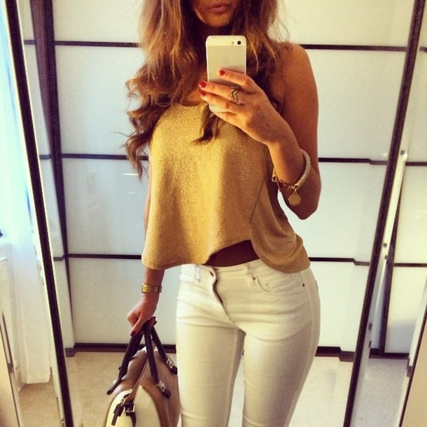 Top Classy Style White Jeans Outfit Bag T-shirt Dress Clothes Gold Shirt Maillot ...