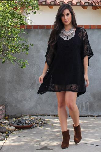 dress crochet lace dress lace boho jewelry bohemian boho dress black dress fashion outfit coachella festival crochet dress beach dress style