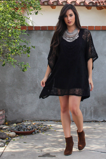 dress crochet lace dress lace boho jewelry bohemian boho dress black dress fashion outfit coachella festival crochet dress beach dress style