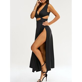 dress rose wholesale black maxi dress slit dress black fashion trendy style casual sexy summer dress