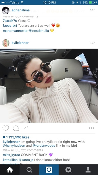 make-up kylie jenner red lipstick sunglasses instagram turtleneck blouse pleated white blouse