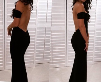 dress black evening dress open back backless black dress prom dress backless dress long prom dress